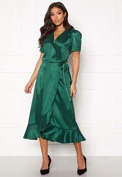 John Zack Short Sleeve Wrap Dress Emerald Jaquard Bubbleroom.se