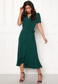 John Zack Short Sleeve Wrap Dress green Bubbleroom.se