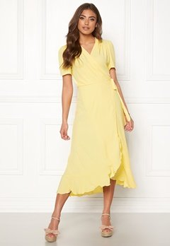 John Zack Short Sleeve Wrap Dress Lemon Bubbleroom.se