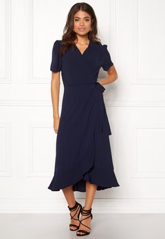 John Zack Short Sleeve Wrap Dress Navy Bubbleroom.se