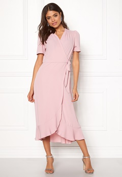 John Zack Short Sleeve Wrap Dress Pink Bubbleroom.se