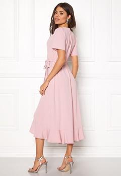 John Zack Short Sleeve Wrap Dress Pink Bubbleroom.fi