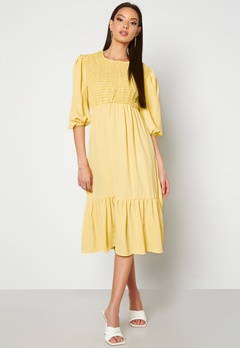 John Zack Smock Midaxi Dress Lemon bubbleroom.se
