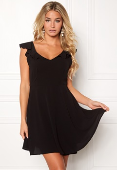 John Zack The Back Frill Dress Black Bubbleroom.dk