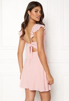 John Zack The Back Frill Dress Blush Bubbleroom.fi