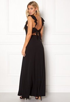 John Zack Tie Back Frill Maxi Dress Black Bubbleroom.se