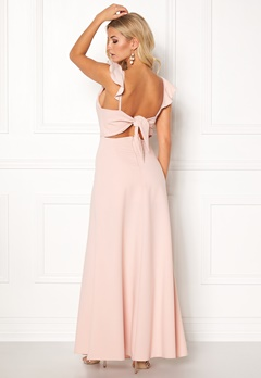 John Zack Tie Back Frill Maxi Dress Blush Bubbleroom.dk