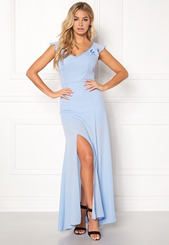 John Zack Tie Back Frill Maxi Dress Light Blue Bubbleroom.dk