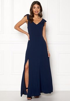 John Zack Tie Back Frill Maxi Dress Navy Bubbleroom.no