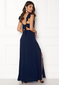 John Zack Tie Back Frill Maxi Dress Navy Bubbleroom.se