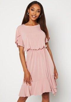 John Zack Tulip Sleeve Belted Dress Rose Bubbleroom.se