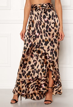 John Zack Wrap Frill Maxi Skirt Animal Print Bubbleroom.se