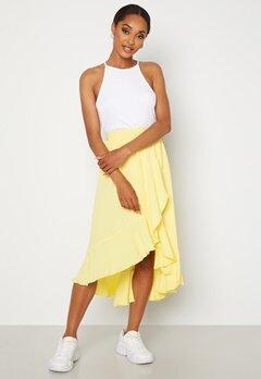 John Zack Wrap Frill Midi Skirt Lemon Bubbleroom.se