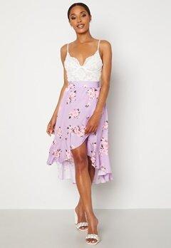 John Zack Wrap Frill Midi Skirt Printed Lilac Print Bubbleroom.se