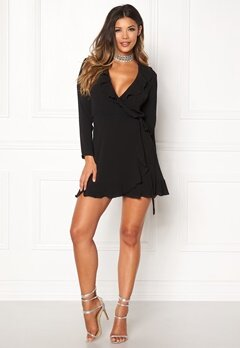 John Zack Wrap Frill Mini Dress Black Bubbleroom.se