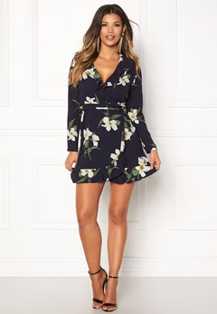 John Zack Wrap Frill Mini Dress Navy Print Bubbleroom.dk