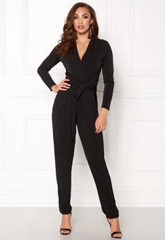 John Zack Wrap Front Jumpsuit Black Bubbleroom.no