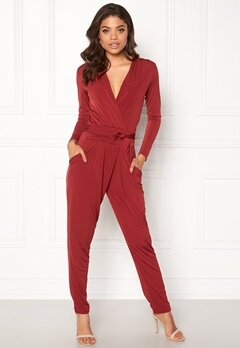John Zack Wrap Front Jumpsuit Red Bubbleroom.no