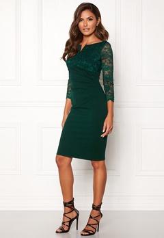 Goddiva Lace Top Midi Dress Emerald Bubbleroom.se
