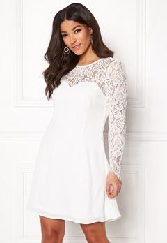 Goddiva Lace Trim Skater Dress White Bubbleroom.se