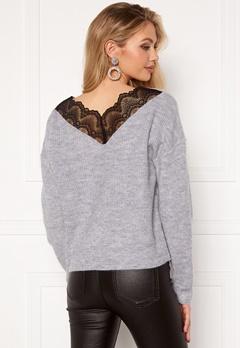 VILA Lala Lace Knit Top Light Grey Melange bubbleroom.se