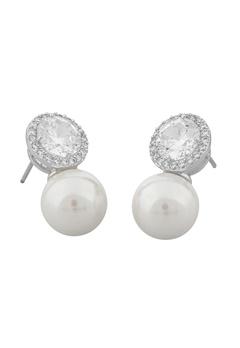 SNÖ of Sweden Lex Pearl Earrings Silver/Clear Bubbleroom.se