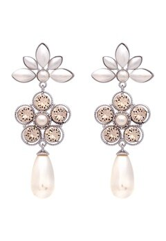 LILY AND ROSE Aurora Pearl Earrings Ivory Silk Bubbleroom.se
