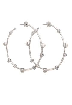 LILY AND ROSE Jagger Hoops Earrings Ivory Silver Bubbleroom.se