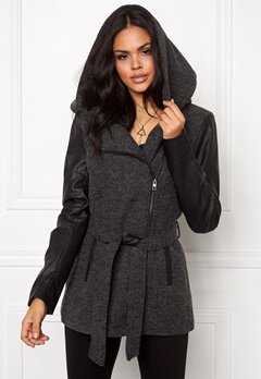 ONLY Lisford Wool Coat Dark Grey Melange Bubbleroom.se