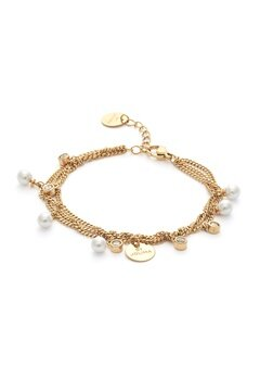 BY JOLIMA Liz Multi Charm Bracelet Milky White Gold Bubbleroom.se