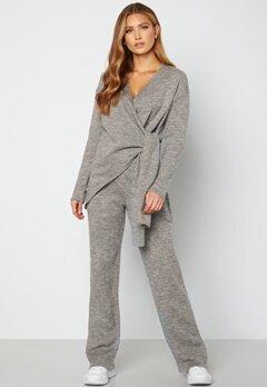 Lojsan Wallin x BUBBLEROOM Knitted wide leg pants Grey bubbleroom.se