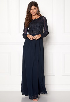 AX Paris Long Sleeve Lace Maxi Navy Bubbleroom.no