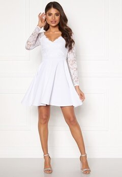 Goddiva Long Sleeve Skater Dress White Bubbleroom.se