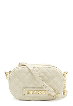 Love Moschino New Shiny Quilted Bag 110 Ivory Bubbleroom.se