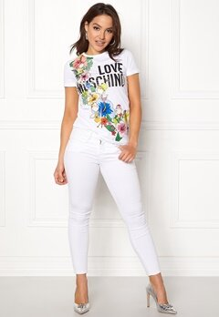 Love Moschino T-shirt Love Flower A00 White Bubbleroom.se