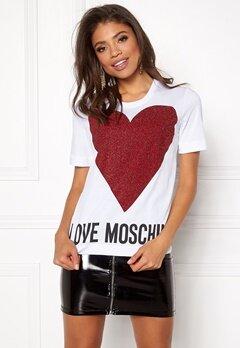 Love Moschino T-shirt Love Heart A00 White Bubbleroom.se