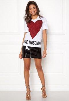 Love Moschino T-shirt Love Heart A00 White Bubbleroom.fi