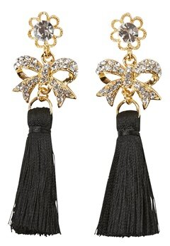 Love Rocks Tassle Bow Earrings Gold/Black Tassle Bubbleroom.se