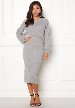 Make Way Amira knitted dress Grey melange Bubbleroom.se