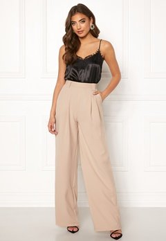 Make Way Bea wide trousers Beige Bubbleroom.se