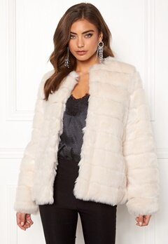 Make Way Freia faux fur jacket Cream Bubbleroom.se