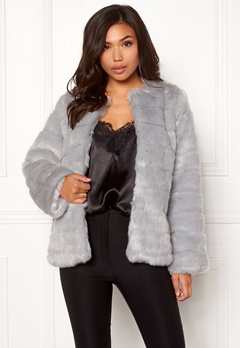Make Way Freia faux fur jacket Light grey Bubbleroom.se