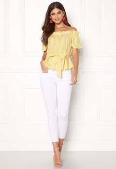 Make Way Kassey off shoulder top Light yellow / White / Checked Bubbleroom.se