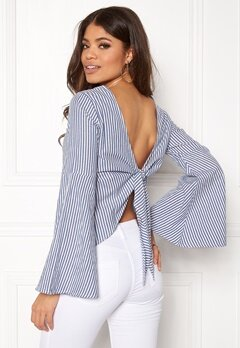 Make Way Macie blouse White / Blue / Striped Bubbleroom.se