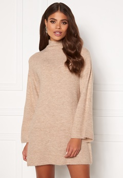 Martine Lunde X Bubbleroom Wide sleeve knitted dress Beige Bubbleroom.se