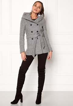 ONLY mary lisa short wool coat Light Grey Melange Bubbleroom.se