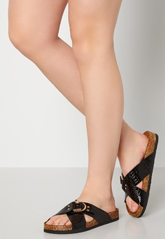 ONLY Maxi PU Croc Crossover Sandal Black Bubbleroom.se