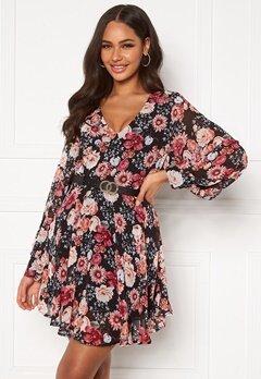 Girl In Mind Maya Cuffed Sleeve Mini Dress Black/Pink Floral Bubbleroom.se