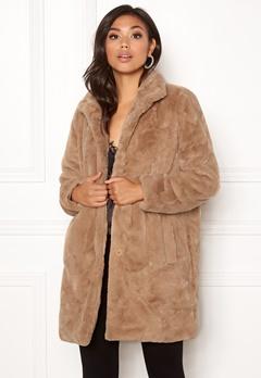 OBJECT Mia Faux Fur Coat Oatmeal Bubbleroom.se
