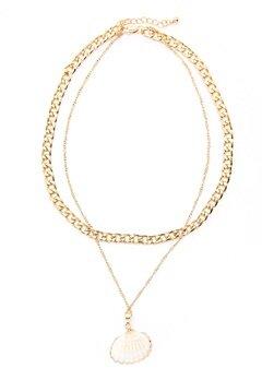 Pieces Millie Combi Necklace Gold Colour Bubbleroom.se